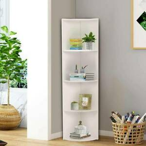 White Corner Shelf 4 Tier Unit Wood Freestanding Fan Bookshelf Plants Stand