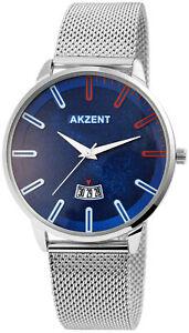 Akzent   Herrenuhr mit Meshband   Armbanduhr  Edelstahl    Silber / Blau / Rot