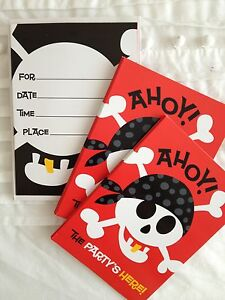 NEW IN PACKET: 8 PIRATE INVITATION CARDS & ENVELOPES (BIRTHDAY PARTY OR OTHER)