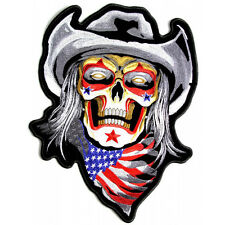 COWBOY SKULL IRON ON EMBROIDERED 5 INCH BIKER PATCH
