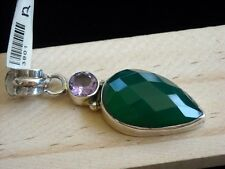 Huge Green Onyx Faceted Amethyst Gemstones Sterling Silver Handcrafted Pendant