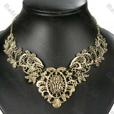 Big Recargado Filigrana Collar Collar Vintage latón Bib Oro Antiguo pltd Encaje