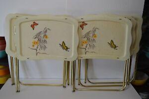 Vintage Butterfly Flowers Fiberglass TV Tray Set of 6 MCM Quaker Industries HTF