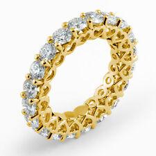 3.25 Ct Round G Diamond Wedding Eternity Heart Design Band Ring 14k Yellow Gold