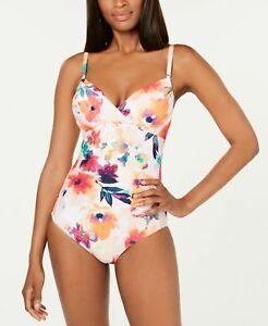 Calvin Klein Underwire Slimming Swimsuit Floral Orange Size 12 MSRP $118