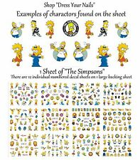 Nail Stickers 12pcs Set THE SIMPSONS Water Decals Transfers Homer, Marg + Bart