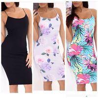 Womens Ladies Cami Strappy Multi Floral Print Bodycon Midi Dress Size UK 8-18