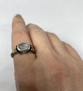 Lagos Caviar Arcadian Ring SS & 18k Yellow Gold Moonstone Sz 6.5