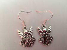 TIBETAN SILVER ANGEL FAIRY DESIGN DROP EARRINGS  Christmas present In gift bag