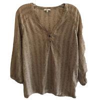 Joie Women's Top Button Front 100% Silk Brown Blouse Size Medium
