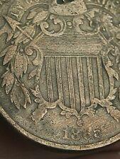 1865 Two 2 Cent Piece- Civil War Type Coin, Plain 5, Fine Details