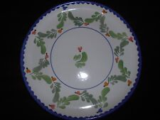 Hand Painted  (Portugal...Italy?) Dinner Plate Blue Trim Green Laurel Leaves