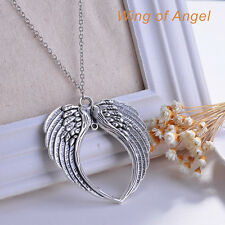 Fashion Jewelry Goth Retro Silver Double Angel Wings Pendant Chain Necklace Hot