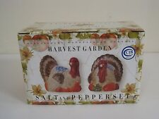 Turkey Fall Harvest Thanksgiving Ceramic Salt & Pepper Shakers Kitchen Decor NIB