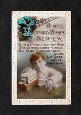 c1930s Birthday Card: Nephew: Boy & Toys: Happy. Lucky & Good Things