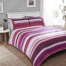 rayé violet 100% coton brossé double 6 pièces Ensemble de literie