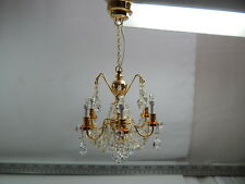Heidi Ott Dollhouse Miniature Light LED 6 Arms Crysta Chandelier Gold #YL7601