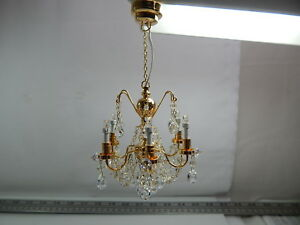 Heidi Ott Dollhouse Miniature Light LED 6 Arms Crysta Chandelier Gold #YL7601FBA
