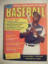 HANK AARON signed RARE 1974 BASEBALL magazine AUTO Autographed BRAVES BREWERS 74