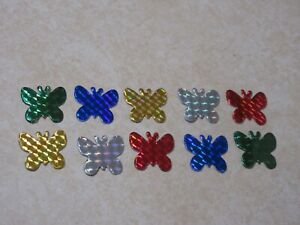 10 -  IRIDESCENT DIMENSIONAL STICKERS -- BUTTERFLIES - ASSORTED COLORS - NEW!