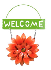 "Home Garden Pool Yard Patio - Flower Welcome Sign - Orange Metal 11"" L - New"