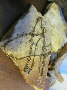 Vintage Brass tone Bezel set Crystal Linked Eyeglasses Holder Chain