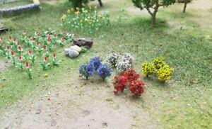 MP SCENERY 14 Flower Bushes N Gauge Architectural Flowering Plants N Scale