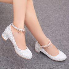 Women Block Heels Buckle Ankle Strap Pumps Lace Wedding Rhinestones Bridal Shoes