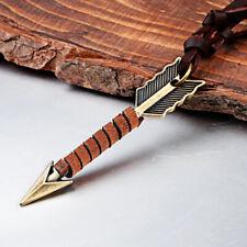 Vintage Punk Men Leather Arrow Pendant Necklace Choker Chain Charm Jewelry Gift