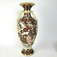 "LARGE ANTIQUE JAPANESE SATSUMA 22"" VASE URN MORIAGE DRAGON HANDLE FREE SHIPPING"