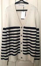 BNWT Zara Man Striped Navy and Cream Button Cardigan Size XL