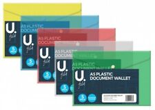 A5 Plastic Document Wallet Folder Filling Storage 5 Pack Colour Assorted(P2770)