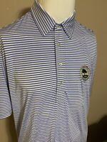 Ralph Lauren RLX Blue White Striped Mens Stretch Golf Polo Shirt Large L