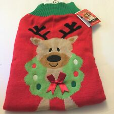 Reindeer Knitted Dog Christmas Sweater Large Pet Costume
