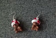Hand Made Teddy Christmas Clay Earrings (No Moulds)