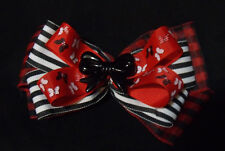 girls hair bow 3 layers  buffalo plaid black and white stripes and butterfly bow