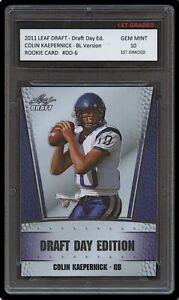 COLIN KAEPERNICK 2011 LEAF DRAFT DAY BLUE ED 1ST GRADED 10 ROOKIE CARD RC NFL