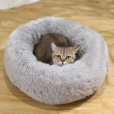 Donut Plush Pet Dog Cat Bed Fluffy Bed Calming Warm Soft Nest Kennel Sleeping @