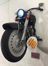 New Black Motorcycle 3D Wall Art Decor Sculpture LED Head Light Harley Chopper
