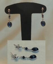 Sublimes boucles d'oreille pendantes SAPHIR bleu pierres naturelles Argent 925