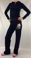 Juicy Couture Velour Set Tracksuit Hoodie Regal Blue Rose Size S