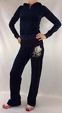 Juicy Couture Velour Set Tracksuit Hoodie Regal Blue Rose Size S