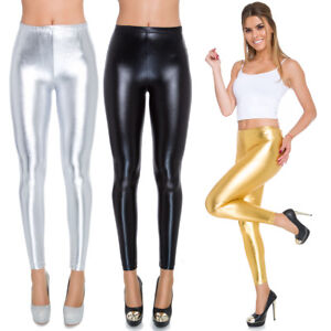 Full Length LATEX Leggings Wet Look Imitation Leather Classic & High Waist 8-20