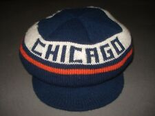 Vintage 1980s Chicago Bears Brimmed Beanie Stocking Cap Hat 80s Nfl Football