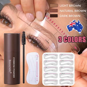 Eyebrow Powder Pen W/Brow card Kit Stencil Shaping Waterproof Powder Brow AU