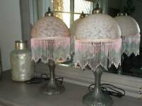 """vintage BOUDOIR TABLE LAMPS pair with art glass beaded shades pink 21.5"""" tall"""
