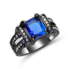Fashion Size 7 Womens Mens Aaa Blue Aquamarine 18K Black Gold Filled Rings Gift
