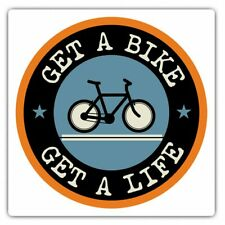 2 x Square Stickers 10 cm - Get A Bike Mountainbike Biker Cycle Cool Gift #5103