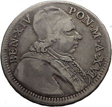 1755 Papal Vatican Rome POPE BENEDICT XIV Dbl. Giulio Antique Silver Coin i60058