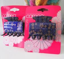 2 x Cameo Ladies / Girls Medium Patterned Purple Hair Clip Hair Claw Grip Clamp